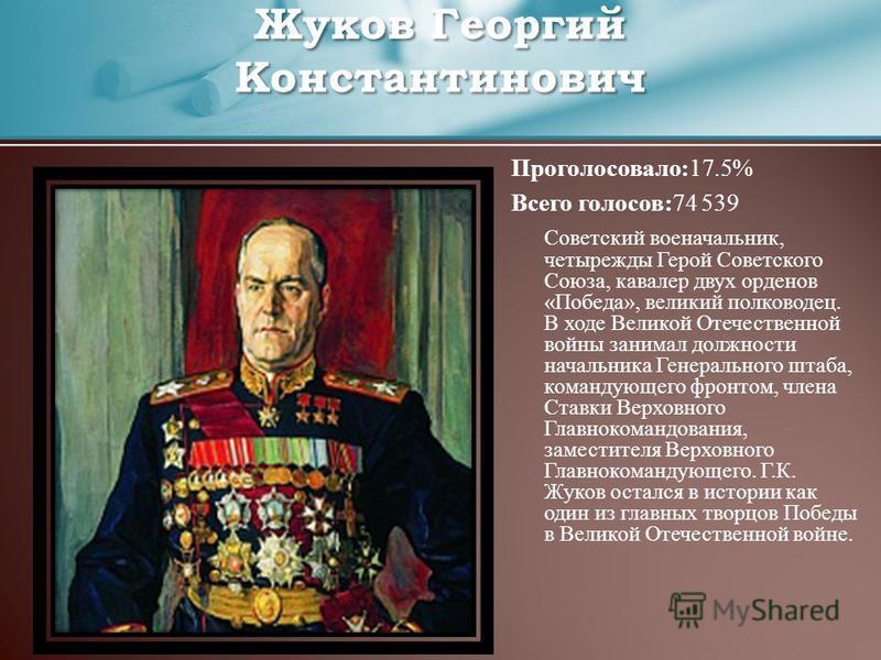 Проголосовало:17.5% Всего голосов:74 539 Советский военачальник, четырежды Герой Советского Союза, кавалер двух орденов «Победа», великий полководец. В ходе Великой Отечественной войны занимал должности начальника Генерального штаба, командующего фро