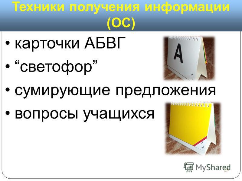 Техники получения информации (ОС) карточки АБВГ светофор суммирующие предложения вопросы учащихся