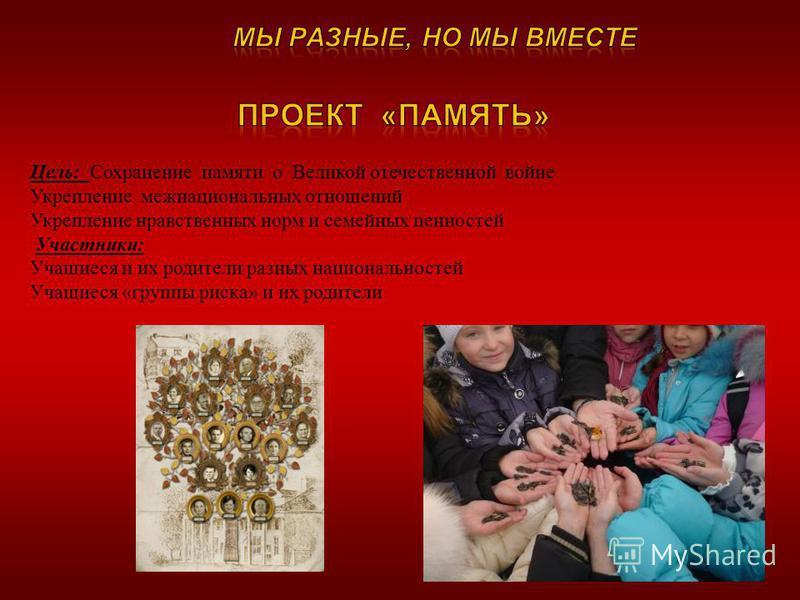 Цель: Сохранение памяти о Великой отечественной войне Укрепление межнациональных отношений Укрепление нравственных норм и семейных ценностей Участники: Учащиеся и их родители разных национальностей Учащиеся «группы риска» и их родители