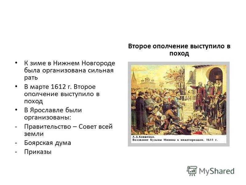 К зиме в Нижнем Новгороде была организована сильная рать В марте 1612 г. Второе ополчение выступило в поход В Ярославле были организованы: -Правительство – Совет всей земли -Боярская дума -Приказы Второе ополчение выступило в поход