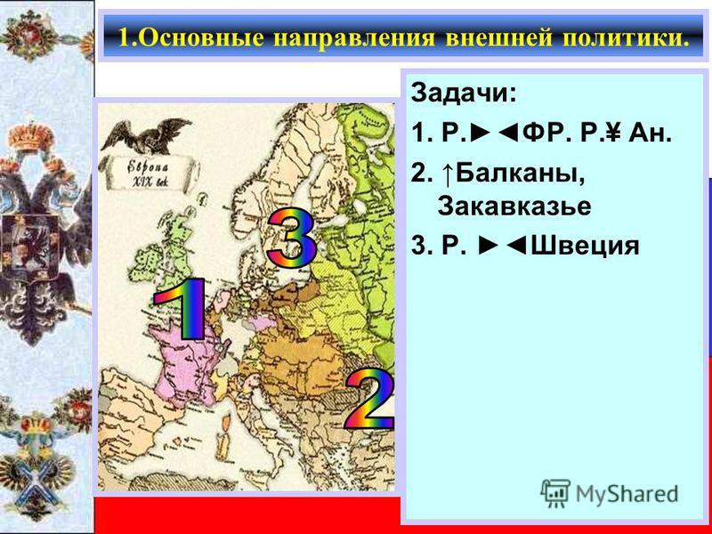 Задачи: 1. Р.ФР. Р.¥ Ан. 2. Балканы, Закавказье 3. Р. Швеция 1. Основные направления внешней политики.
