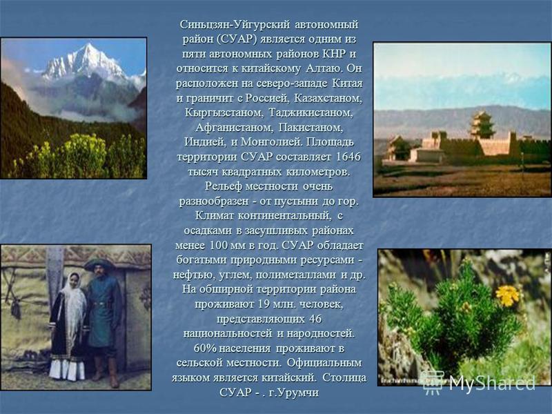 Синьцзян-Уйгурский автономный район (СУАР) является одним из пяти автономных районов КНР и относится к китайскому Алтаю. Он расположен на северо-западе Китая и граничит с Россией, Казахстаном, Кыргызстаном, Таджикистаном, Афганистаном, Пакистаном, Ин