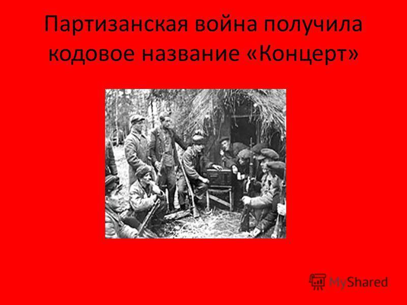 Партизанская война получила кодовое название «Концерт»