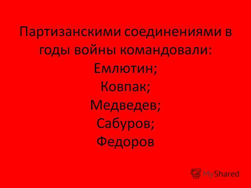 Партизанскими соединениями в годы войны командовали: Емлютин; Ковпак; Медведев; Сабуров; Федоров
