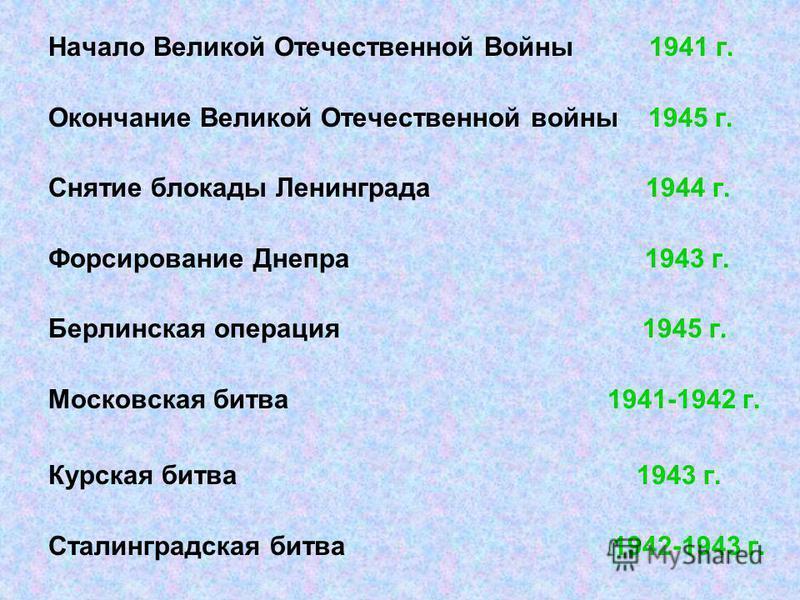 Начало Великой Отечественной Войны 1941 г. Окончание Великой Отечественной войны 1945 г. Снятие блокады Ленинграда 1944 г. Форсирование Днепра 1943 г. Берлинская операция 1945 г. Московская битва 1941-1942 г. Курская битва 1943 г. Сталинградская битв