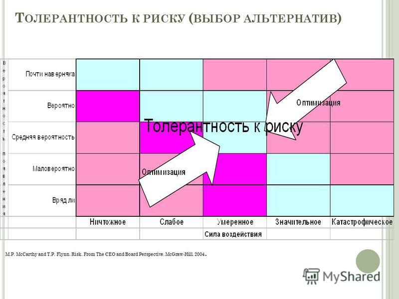 35 Т ОЛЕРАНТНОСТЬ К РИСКУ ( ВЫБОР АЛЬТЕРНАТИВ ) M.P. McCarthy and T.P. Flynn. Risk. From The CEO and Board Perspective. McGraw-Hill. 2004.