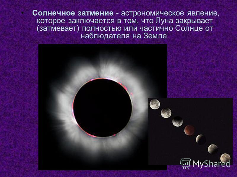 Солнечное затмение - астрономическое явление, которое заключается в том, что Луна закрывает (затмевает) полностью или частично Солнце от наблюдателя на Земле.
