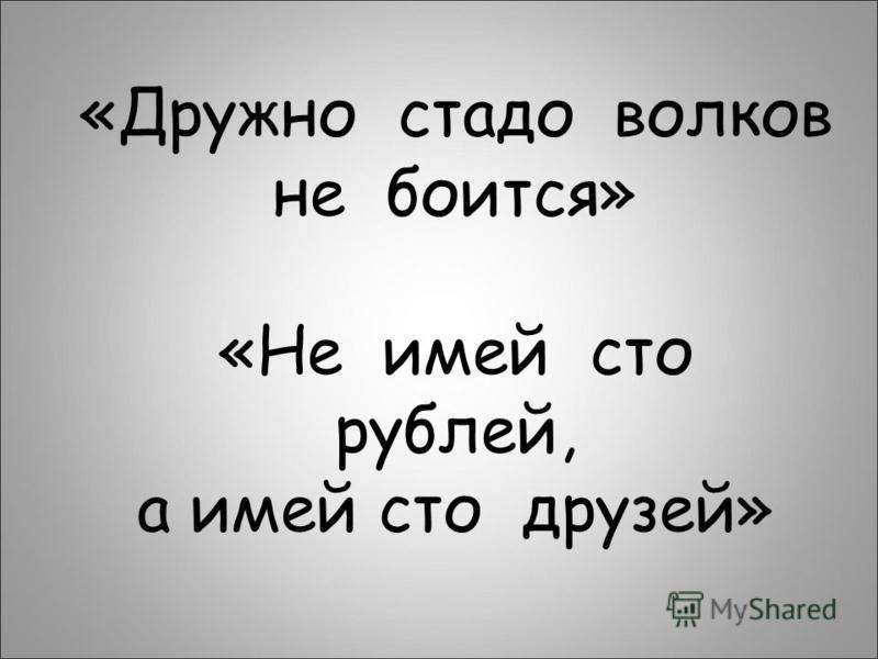 «Дружно стадо волков не боится» «Не имей сто рублей, а имей сто друзей»