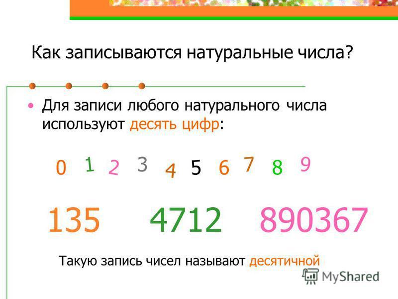 Как записываются натуральные числа? Для записи любого натурального числа используют десять цифр: 0 2 1 3 4 6 5 8 7 9 1354712890367 Такую запись чисел называют десятичной