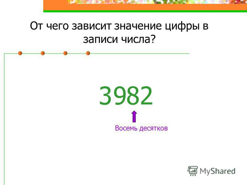 От чего зависит значение цифры в записи числа? 3 8 Восемь десятков 2 9