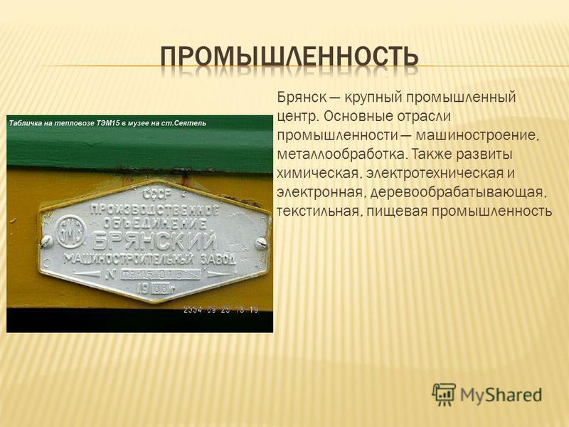 Брянск крупный промышленный центр. Основные отрасли промышленности машиностроение, металлообработка. Также развиты химическая, электротехническая и электронная, деревообрабатывающая, текстильная, пищевая промышленность