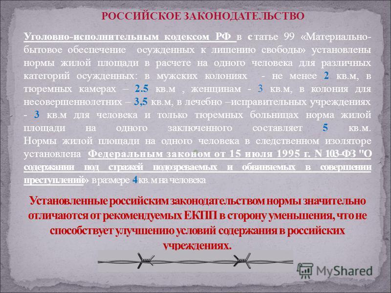 Уголовно-исполнительным кодексом РФ в статье 99 «Материально- бытовое обеспечение осужденных к лишению свободы» установлены нормы жилой площади в расчете на одного человека для различных категорий осужденных: в мужских колониях - не менее 2 кв.м, в т