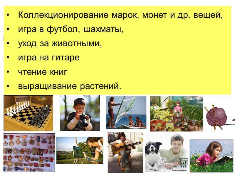 Коллекционирование марок, монет и др. вещей, игра в футбол, шахматы, уход за животными, игра на гитаре чтение книг выращивание растений.