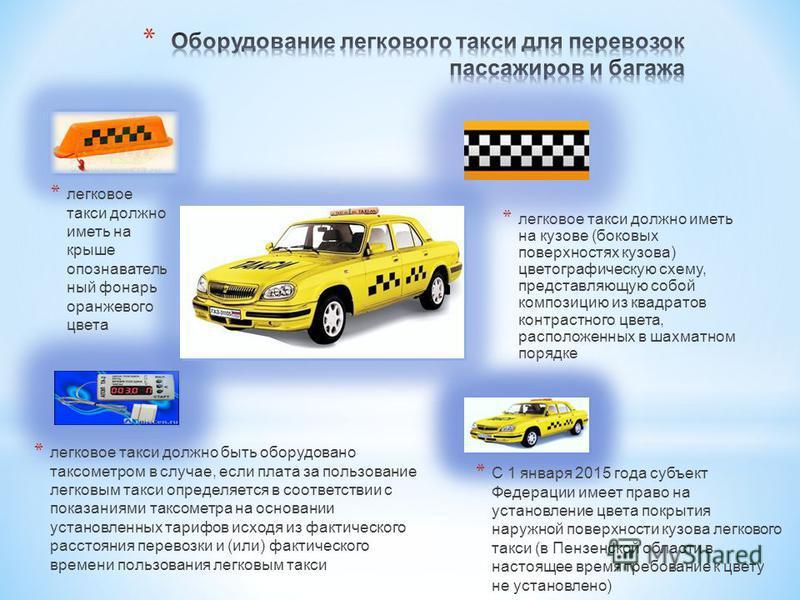* легковое такси должно иметь на кузове (боковых поверхностях кузова) цвето графическую схему, представляющую собой композицию из квадратов контрастного цвета, расположенных в шахматном порядке * легковое такси должно иметь на крыше опознавательный ф