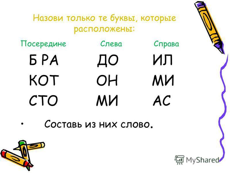 Назови только те буквы, которые расположены: Посередине Слева Справа Б РА ДО ИЛ КОТ ОН МИ СТО МИ АС Составь из них слово.