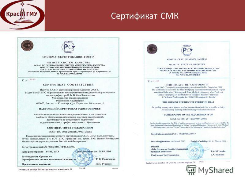 Нормативная база Сертификат СМК