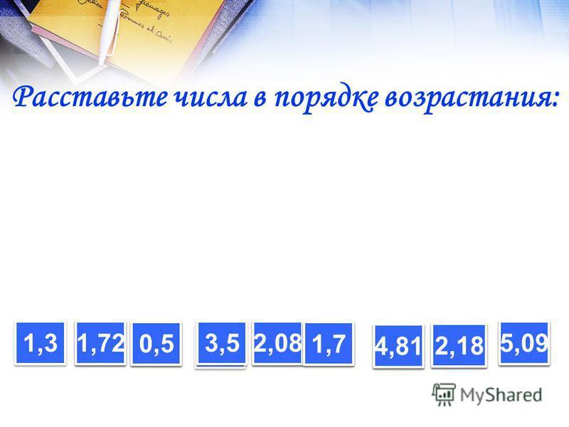 Расставьте числа в порядке возрастания: 1,3 1,72 0,5 3,5 2,08 1,7 4,81 2,18 5,09