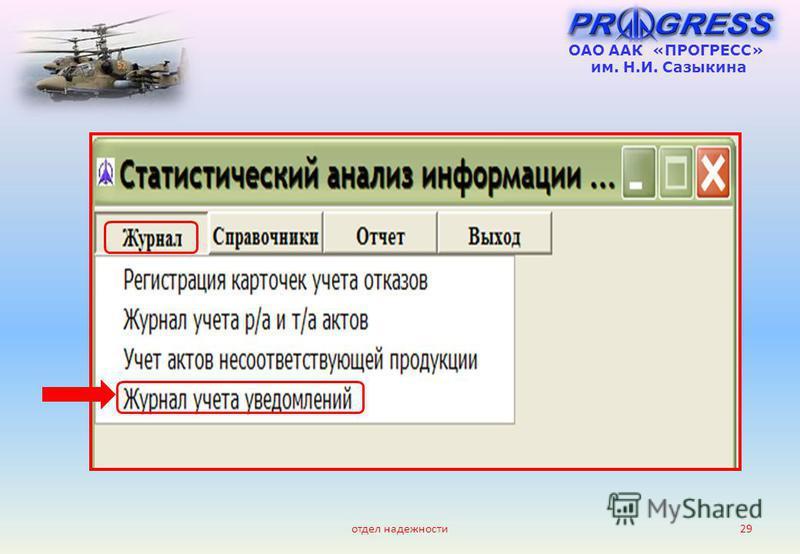 отдел надежности 29 ОАО ААК «ПРОГРЕСС» им. Н.И. Сазыкина