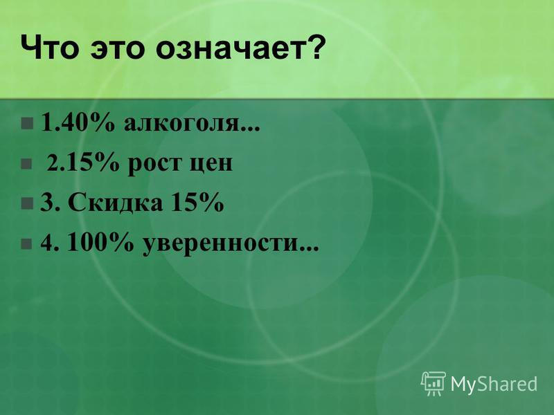 Что это означает? 1.40% алкоголя... 2. 15% рост цен 3. Скидка 15% 4. 100% уверенности...