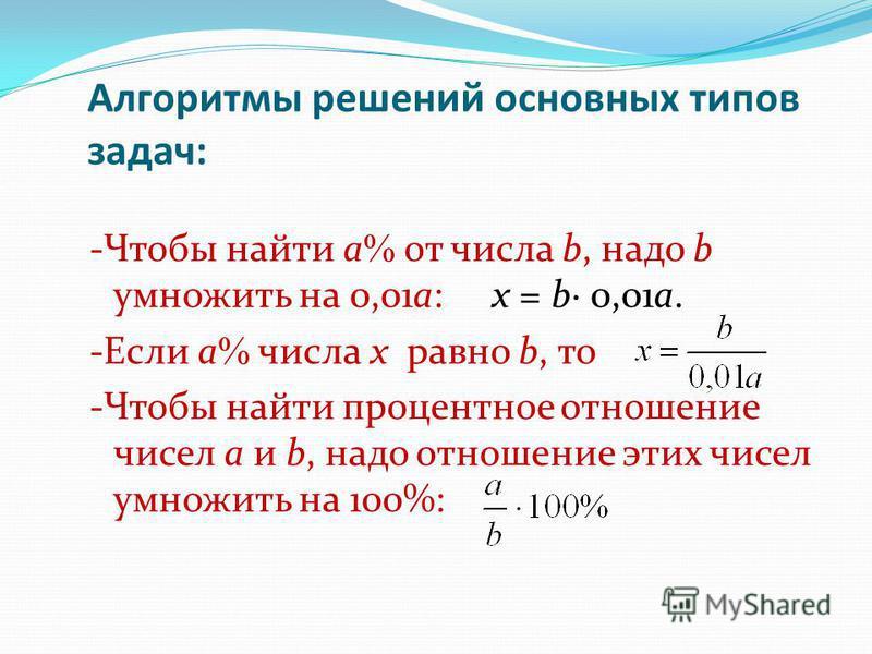 Алгоритмы решений основных типов задач: -Чтобы найти а от числа b, надо b умножить на 0,01 а: х = b 0,01 а. -Если а числа х равно b, то -Чтобы найти процентное отношение чисел а и b, надо отношение этих чисел умножить на 100%: