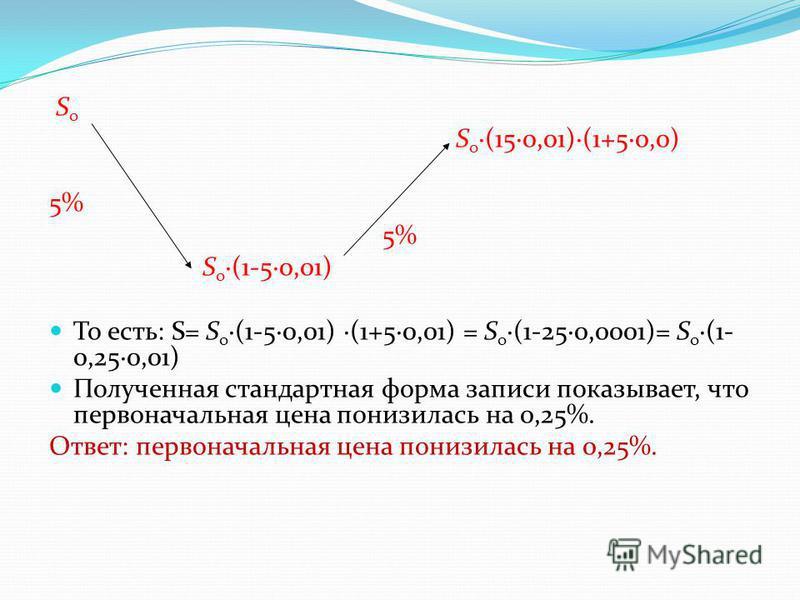S о S о (150,01)(1+50,0) 5% S о (1-50,01) То есть: S= S о (1-50,01) (1+50,01) = S о (1-250,0001)= S о (1- 0,250,01) Полученная стандартная форма записи показывает, что первоначальная цена понизилась на 0,25%. Ответ: первоначальная цена понизилась на