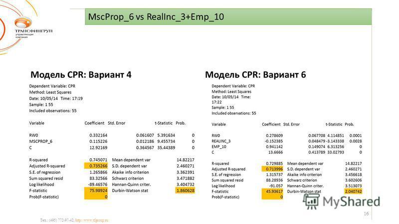 MscProp_6 vs RealInc_3+Emp_10 Тел.: (495) 772-97-42, http://www.tfgroup.ru Модель CPR: Вариант 4Модель CPR: Вариант 6 16