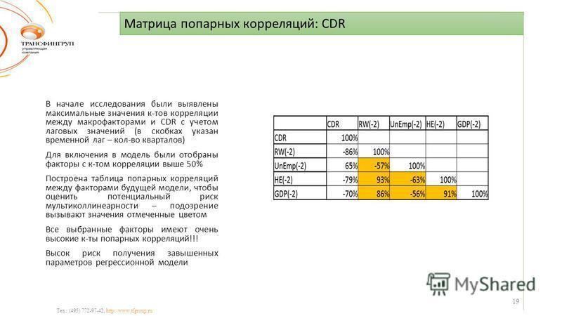 Матрица попарных корреляций: CDR Тел.: (495) 772-97-42, http://www.tfgroup.ru В начале исследования были выявлены максимальные значения к-тов корреляции между макрофакторами и CDR с учетом лаговых значений (в скобках указан временной лаг – кол-во ква