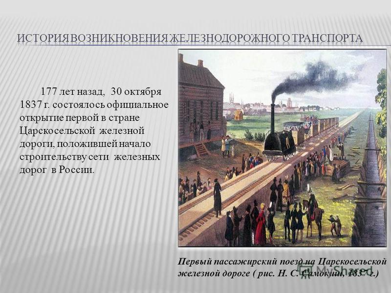 177 лет назад, 30 октября 1837 г. состоялось официальное открытие первой в стране Царскосельской железной дороги, положившей начало строительству сети железных дорог в России. Первый пассажирский поезд на Царскосельской железной дороге ( рис. Н. С. С