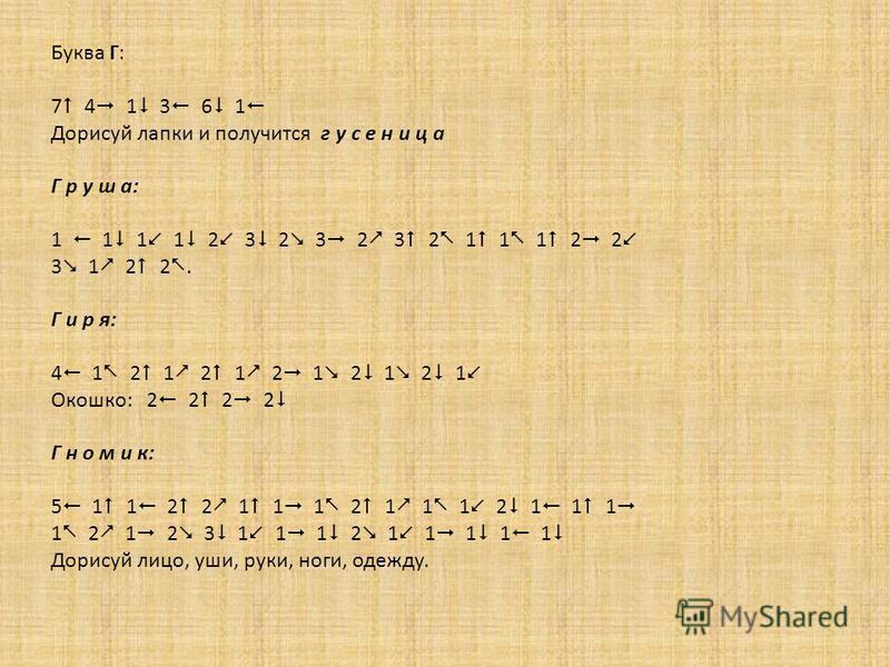 Буква Г: 7 4 1 3 6 1 Дорисуй лапки и получится г у с е н и ц а Г р у ш а: 1 1 1 1 2 3 2 3 2 3 2 1 1 1 2 2 3 1 2 2. Г и р я: 4 1 2 1 2 1 2 1 2 1 2 1 Окошко: 2 2 2 2 Г н о м и к: 5 1 1 2 2 1 1 1 2 1 1 1 2 1 1 1 1 2 1 2 3 1 1 1 2 1 1 1 1 1 Дорисуй лицо,