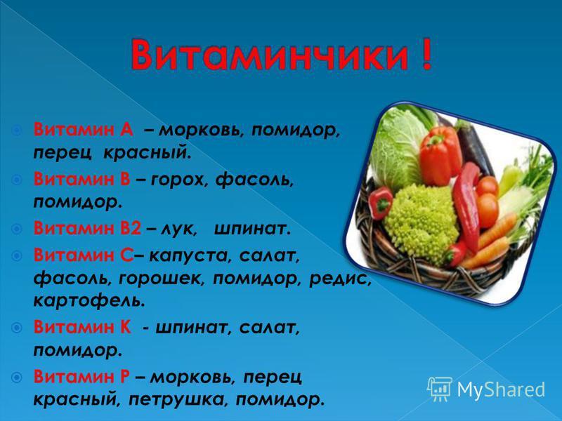 Витамин А – морковь, помидор, перец красный. Витамин В – горох, фасоль, помидор. Витамин В2 – лук, шпинат. Витамин С– капуста, салат, фасоль, горошек, помидор, редис, картофель. Витамин К - шпинат, салат, помидор. Витамин Р – морковь, перец красный,