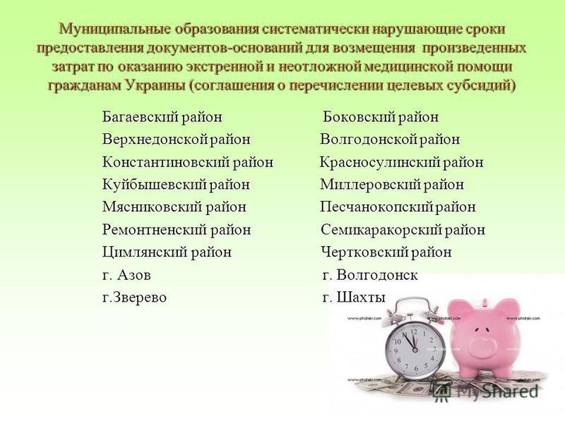Муниципальные образования систематически нарушающие сроки предоставления документов-оснований для возмещения произведенных затрат по оказанию экстренной и неотложной медицинской помощи гражданам Украины (соглашения о перечислении целевых субсидий) Ба