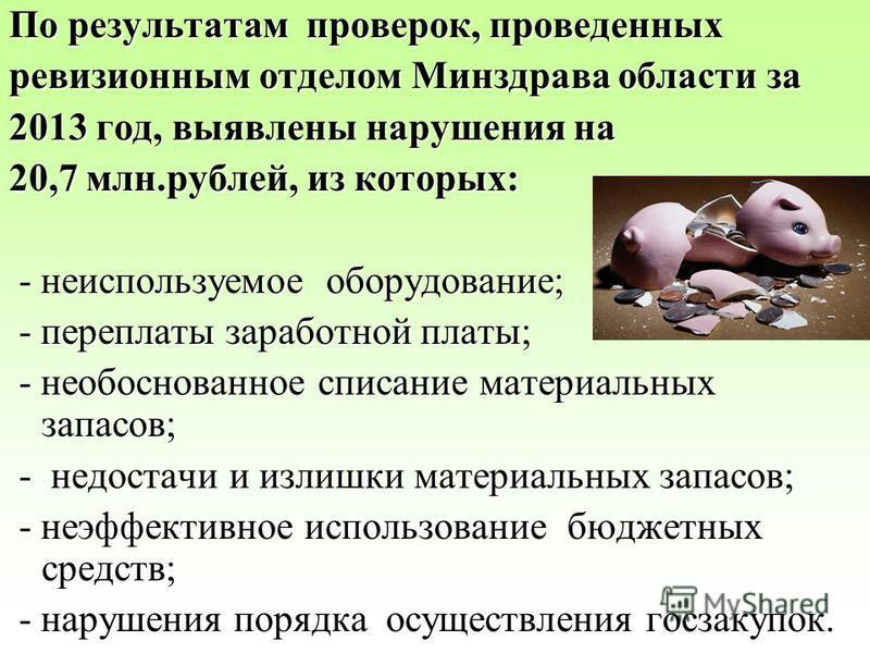 По результатам проверок, проведенных ревизионным отделом Минздрава области за 2013 год, выявлены нарушения на 20,7 млн.рублей, из которых: - неиспользуемое оборудование; - неиспользуемое оборудование; - переплаты заработной платы; - переплаты заработ