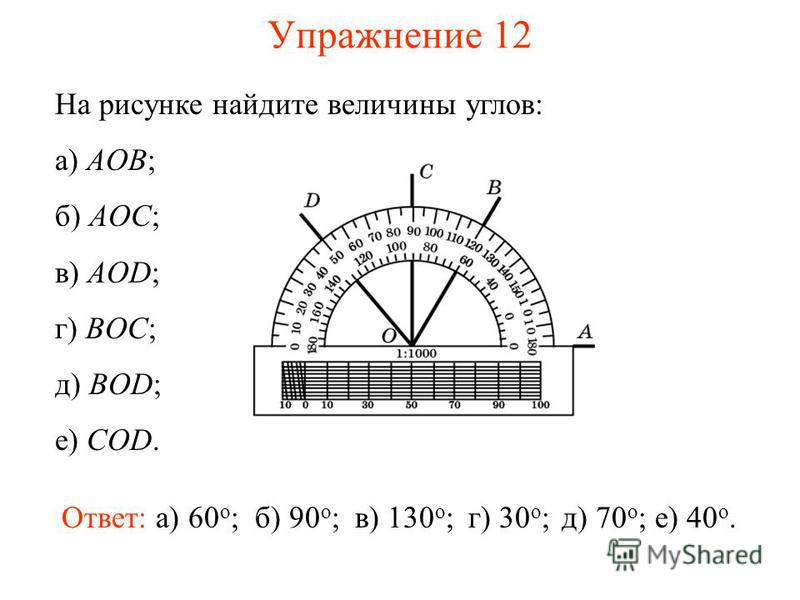 Упражнение 12 На рисунке найдите величины углов: а) AOB; б) AOC; в) AOD; г) BOC; д) BOD; е) COD. Ответ: а) 60 о ;б) 90 о ;в) 130 о ;г) 30 о ;д) 70 о ;е) 40 о.