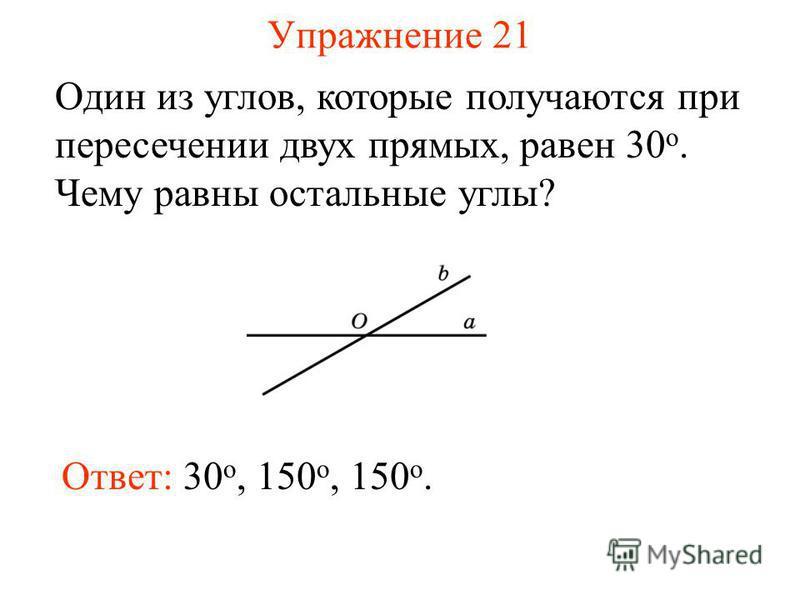 Упражнение 21 Один из углов, которые получаются при пересечении двух прямых, равен 30 о. Чему равны остальные углы? Ответ: 30 о, 150 o, 150 o.