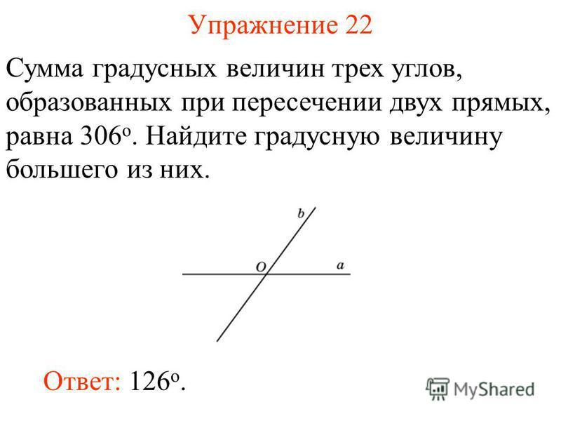 Упражнение 22 Сумма градусных величин трех углов, образованных при пересечении двух прямых, равна 306 о. Найдите градусную величину большего из них. Ответ: 126 o.