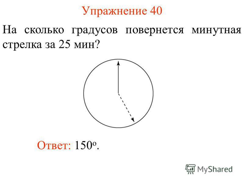 Упражнение 40 На сколько градусов повернется минутная стрелка за 25 мин? Ответ: 150 о.