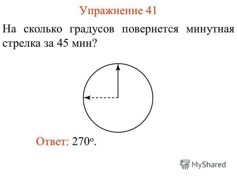 Упражнение 41 На сколько градусов повернется минутная стрелка за 45 мин? Ответ: 270 о.