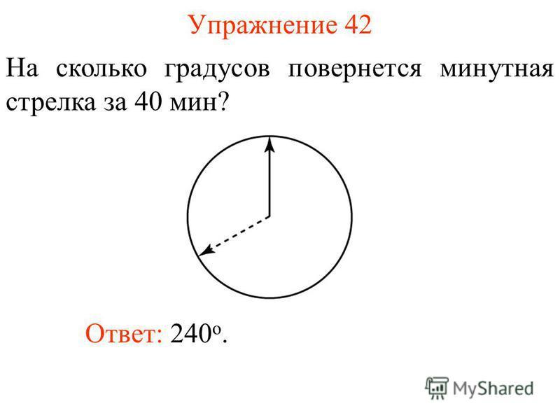 Упражнение 42 На сколько градусов повернется минутная стрелка за 40 мин? Ответ: 240 о.
