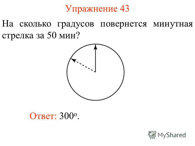 Упражнение 43 На сколько градусов повернется минутная стрелка за 50 мин? Ответ: 300 о.