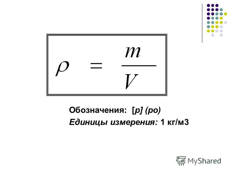 Обозначения: [p] (ро) Единицы измерения: 1 кг/м 3