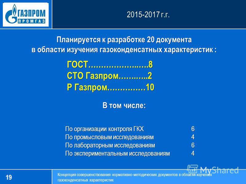 19 Концепция совершенствования нормативно-методических документов в области изучения газоконденсатных характеристик Планируется к разработке 20 документа в области изучения газоконденсатных характеристик : 2015-2017 г.г. ГОСТ………………..….8 СТО Газпром……