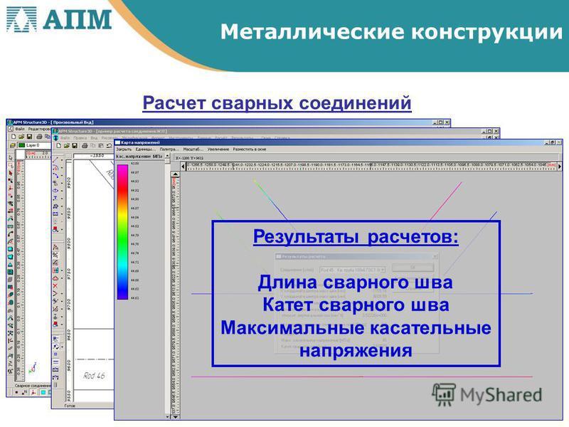Расчет сварных соединений Результаты расчетов: Длина сварного шва Катет сварного шва Максимальные касательные напряжения Металлические конструкции