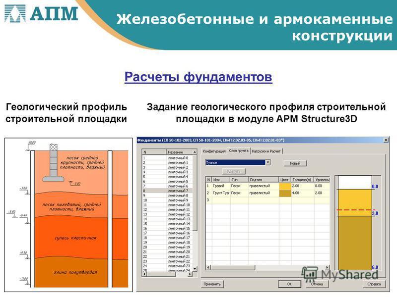 Расчеты фундаментов Железобетонные и армокаменные конструкции Геологический профиль строительной площадки Задание геологического профиля строительной площадки в модуле APM Structure3D