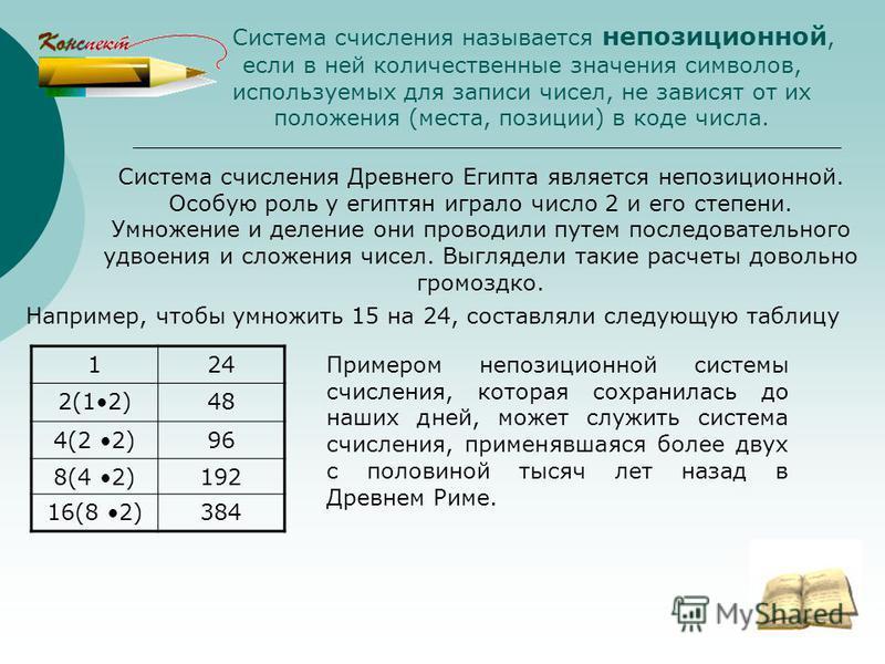 Система счисления называется непозиционной, если в ней количественные значения символов, используемых для записи чисел, не зависят от их положения (места, позиции) в коде числа. Система счисления Древнего Египта является непозиционной. Особую роль у