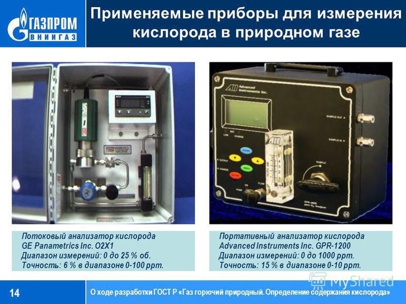 Применяемые приборы для измерения кислорода в природном газе 14 Потоковый анализатор кислорода GE Panametrics Inc. O2X1 Диапазон измерений: 0 до 25 % об. Точность: 6 % в диапазоне 0-100 ppm. Портативный анализатор кислорода Advanced Instruments Inc.