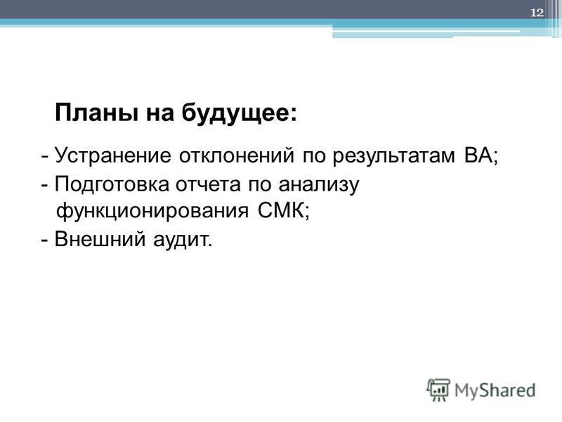 Планы на будущее: - Устранение отклонений по результатам ВА; - Подготовка отчета по анализу функционирования СМК; - Внешний аудит. 12