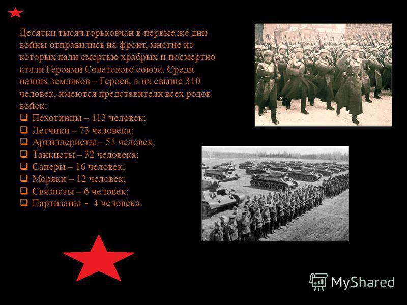 Десятки тысяч горьковчан в первые же дни войны отправились на фронт, многие из которых пали смертью храбрых и посмертно стали Героями Советского союза. Среди наших земляков – Героев, а их свыше 310 человек, имеются представители всех родов войск: П е