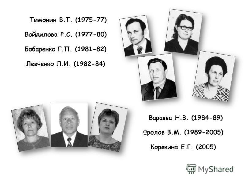 Тимонин В.Т. (1975-77) Войдилова Р.С. (1977-80) Бобаренко Г.П. (1981-82) Левченко Л.И. (1982-84) Варавва Н.В. (1984-89) Фролов В.М. (1989-2005) Корякина Е.Г. (2005)