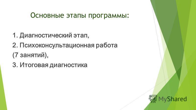 Основные этапы программы: 1. Диагностический этап, 2. Психоконсультационная работа (7 занятий), 3. Итоговая диагностика