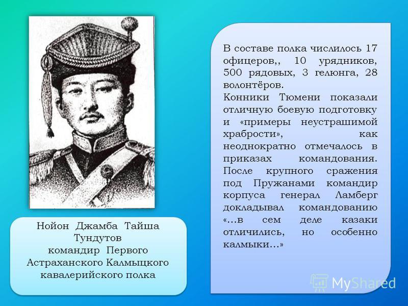 В составе полка числилось 17 офицеров,, 10 урядников, 500 рядовых, 3 гелюнга, 28 волонтёров. Конники Тюмени показали отличную боевую подготовку и «примеры неустрашимой храбрости», как неоднократно отмечалось в приказах командования. После крупного ср